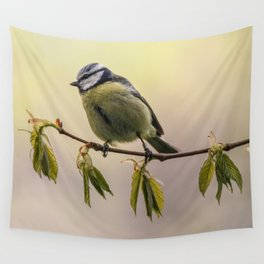 Yellow and blue tit on the branch Wall Tapestry
