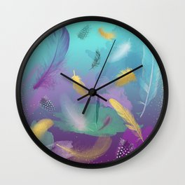 Dancing Feathers - Turquoise and purple shades with gold details Wall Clock