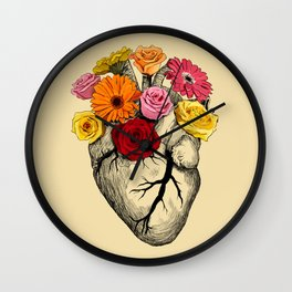 Flower Heart Wall Clock
