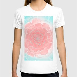 Romantic aqua and pink flower, digital abstracts T-shirt