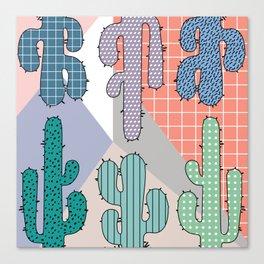 80s Retro Cactus Geometric Pattern Canvas Print
