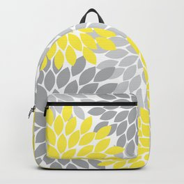 Yellow Gray Flower Burst Petals Floral Pattern Backpack