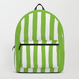 Green and White Cabana Stripes Palm Beach Preppy Backpack