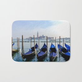 Row of Gondolas Venice Italy Bath Mat