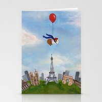 guinea pig Stationery Cards featuring Guinea Pig Over Paris by When Guinea Pigs Fly