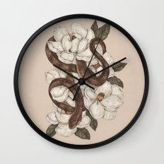 Snake and Magnolias Wall Clock
