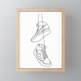 Sneakers simple minimal one line art, hanging shoes branded shoes  Framed Mini Art Print