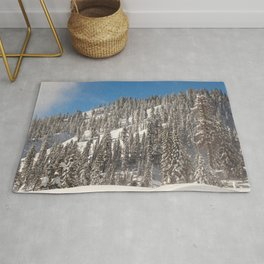 California USA Lassen Volcanic National Park Winter Spruce Nature mountain Snow Parks Trees Mountains park Rug