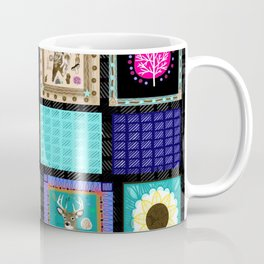 Woodland Bohemian Quilt Poster, Forest Animals, Woodland Creatures Coffee Mug