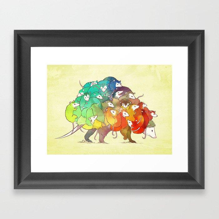 Opossum Rainbow Babies Gerahmter Kunstdruck