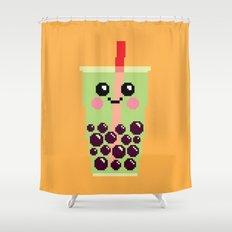 Happy Pixel Bubble Tea Shower Curtain