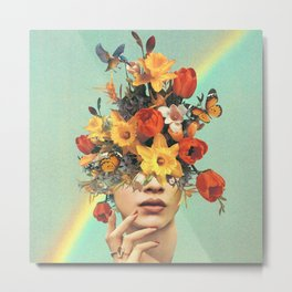 Baby's in bloom - Rainbow, flowers, birds & butterflies Metal Print