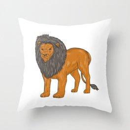 Lion Hunting Surveying Prey Drawing Throw Pillow