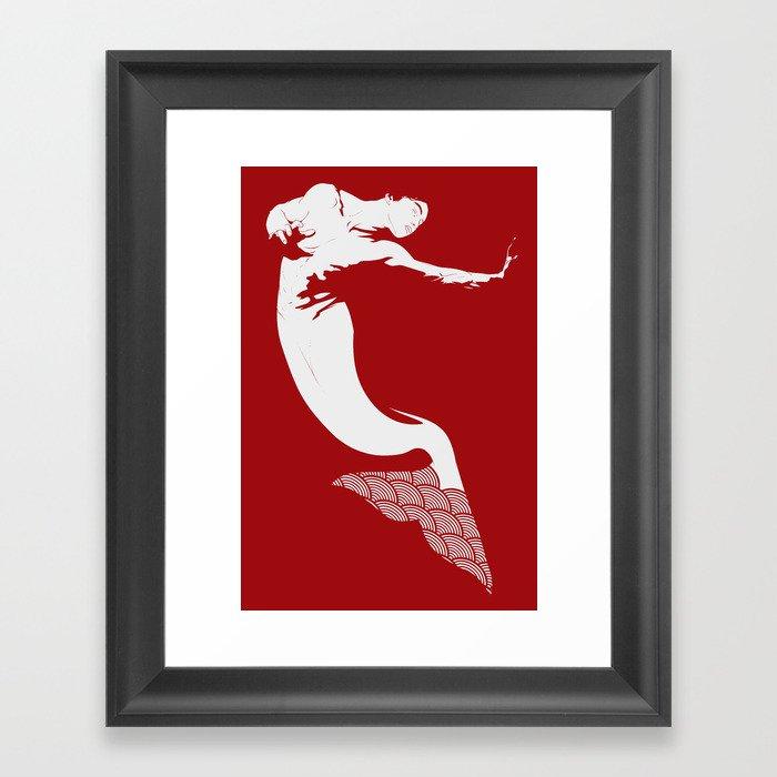 Merman - Red & White - Mermay 2019 Framed Art Print
