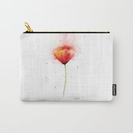 Red Poppy Flower Watercolor Abstract Poppies Floral Carry-All Pouch