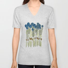 Tall skinny blue flowers with cattails Unisex V-Neck