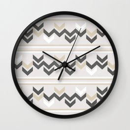 Geometric Arrowhead Charcoal Gold And White Grunge Pattern Wall Clock