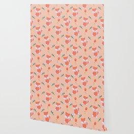 Happy Birthday Orange Fox on Orange Background Pattern Wallpaper