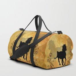 Wonderful black horse silhouette Duffle Bag