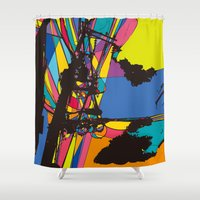 the wire Shower Curtains featuring wire by PINT GRAPHICS