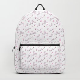 Pink watercolor magnolia pattern Backpack