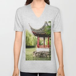387. Chinese Temple, Vancouver, Canada Unisex V-Neck