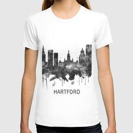 Hartford Connecticut Skyline BW T-shirt