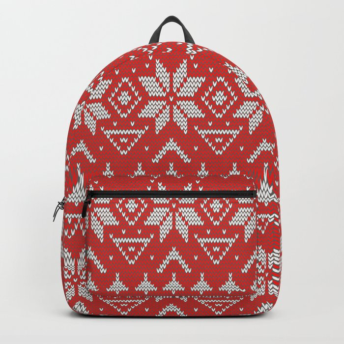 4 Knitted Christmas pattern in retro style pattern Backpack