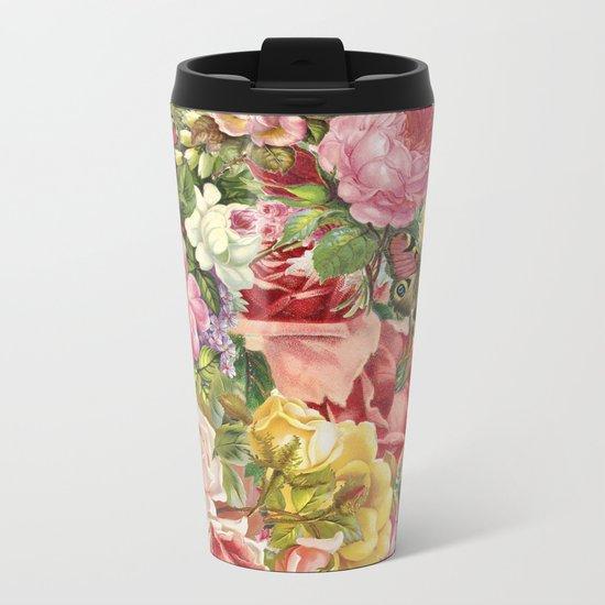 Vintage Retro flower pattern old fashioned Metal Travel Mug