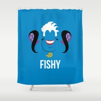 ursula Shower Curtains featuring Distorted Dizney: Fishy Ursula by hellomikho