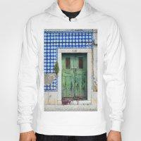portugal Hoodies featuring DOOR, LISBON, PORTUGAL by Sébastien BOUVIER