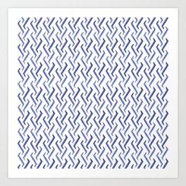 Hand Drawn Vertical Retro Thunder Pattern Brush Graphic Artwork Blue Iris Love Art Print
