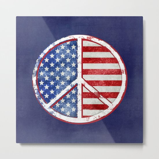 Watercolor Peace Symbol Stars and Stripes USA Flag Metal Print