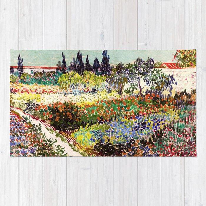 High Quality Vincent Van Gogh Flowering Garden Rug