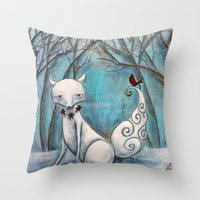 bianca green Throw Pillows featuring Bianca by Allison Weeks Thomas