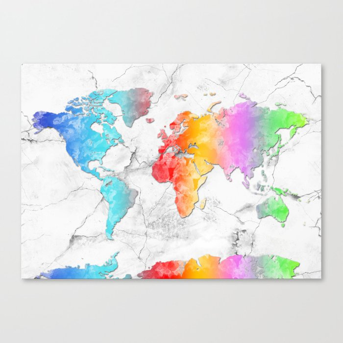 world map marble 2 Canvas Print