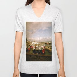 Boats Bobbing in the Blue of the Bay Unisex V-Neck