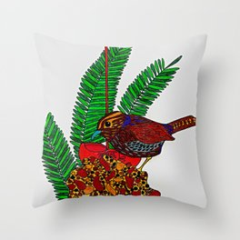 Little Bird In Evergreen Boughs Throw Pillow