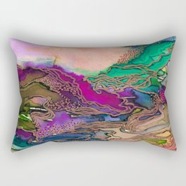 BRING ON BOHEMIA 1 Bold Rainbow Colorful Watercolor Abstract Metallic Accent Summer Peach Pink Green Rectangular Pillow