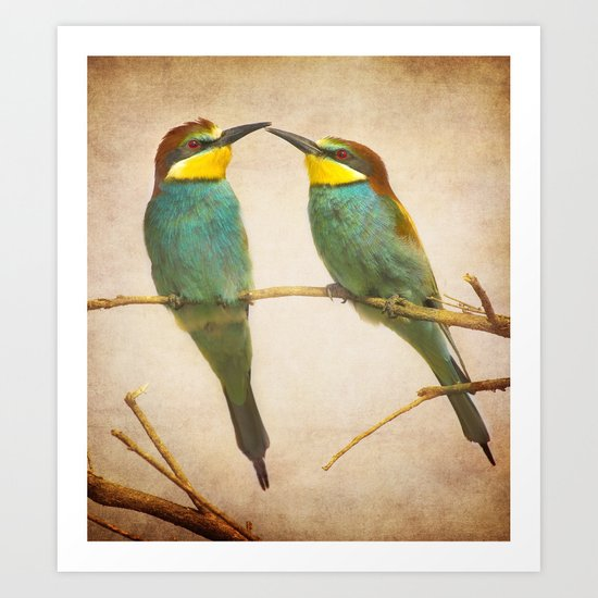 Love time. Bee-eaters Art Print
