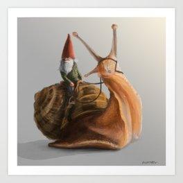 Gnome on Snail Art Print