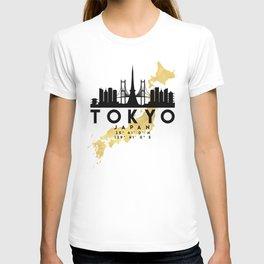 TOKYO JAPAN SILHOUETTE SKYLINE MAP ART T-shirt