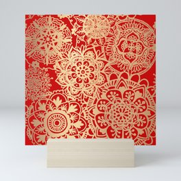 Red and Gold Mandala Pattern Mini Art Print