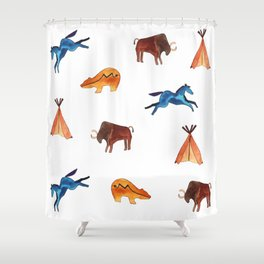 Tribal Indian Art and Teepee Pattern Shower Curtain