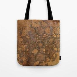 Vintage Gears Pattern (Color) Tote Bag