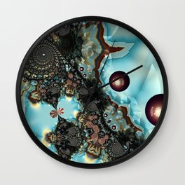 Shadow Blues Fractal Wall Clock