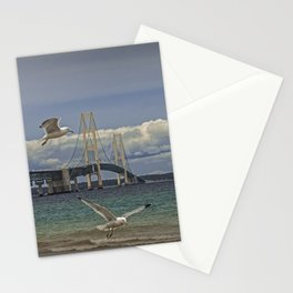 Flock of Gulls Flying by the Bridge at the Straits of Mackinac Stationery Cards