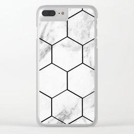 Marble hexagonal tiles - geometric beehive Clear iPhone Case
