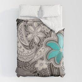 Teal Hawaiian Floral Tattoo Design Comforters