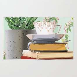 Tea and book love Rug